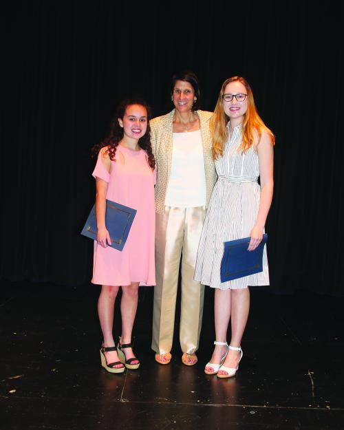 2017 Friends Scholarship recipients Carolyn Hammond and Stephanie Raupp with Friends Board Member Tish Borkowski Houston
