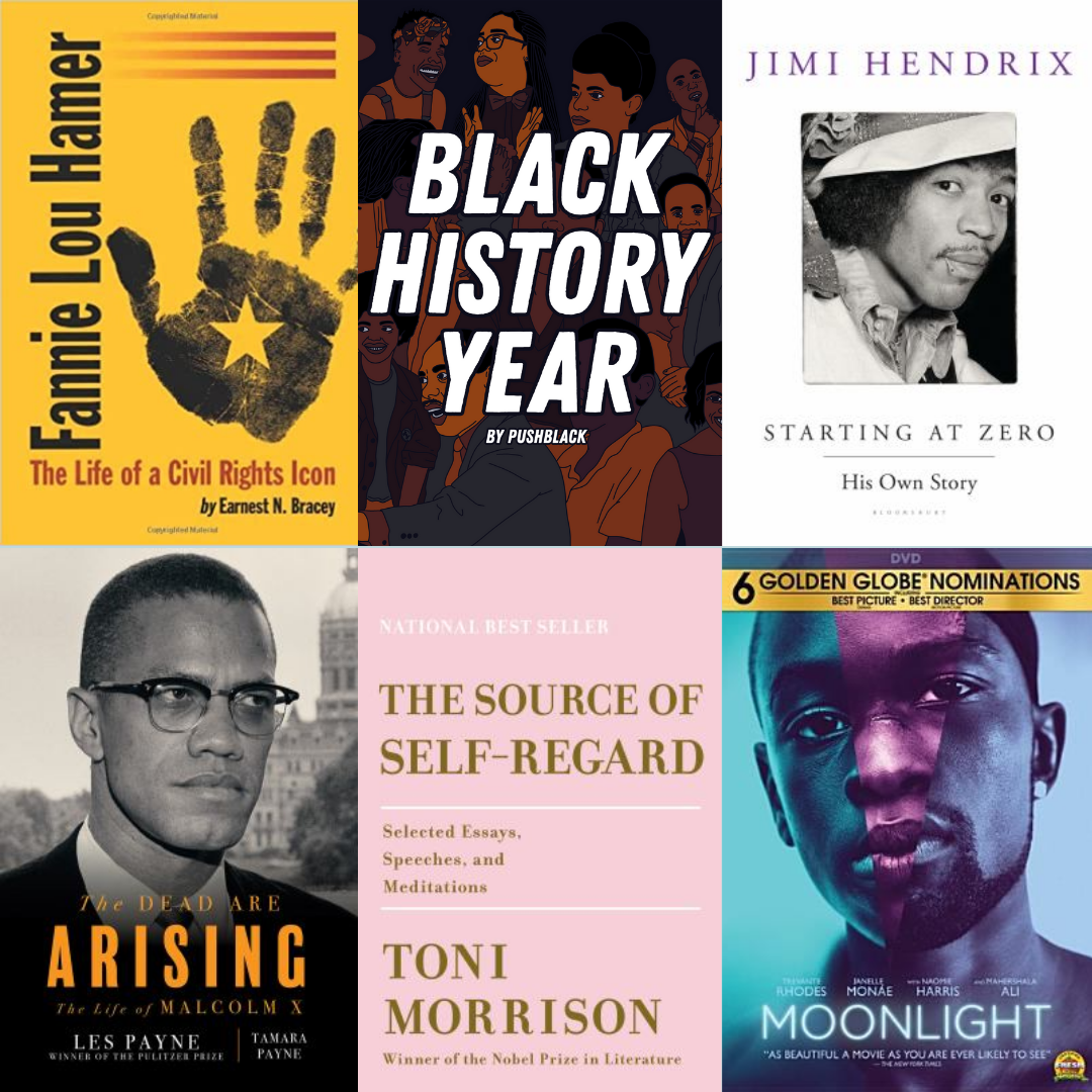 Collage of Books, Movies, and Podcasts relating to Black History Month