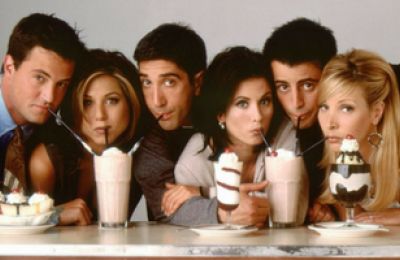 The cast of Friends eating ice cream