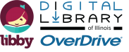 Libby, Digital Library of Illinois, OverDrive logos